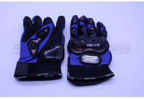 Перчатки мото PRO-BIKER XXL (костяшки,синие)
