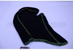 Подшлемник утеплённый размер 56-58 (черный, зелёный кант)