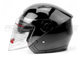 Шлем открытый со стеклом Ataki OF512 Solid M (черный глянцевый)