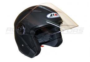 Шлем открытый со стеклом Ataki OF512 Solid M (черный матовый)