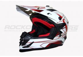 Шлем кроссовый Ataki SC-16 Rift L (красный/белый глянцевый)