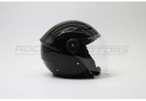 Шлем открытый со стеклом ROCKOT PD-623 Solid (S) (черный глянцевый)