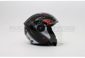 Шлем открытый со стеклом ROCKOT PD-623 MD (XL) (черный/белый/красный глянцевый)