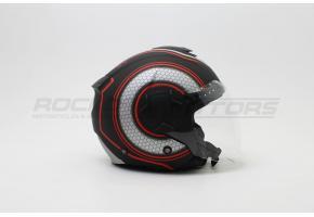 Шлем открытый с двойным стеклом ROCKOT PD-625 KL (XL) (черный/красный матовый)