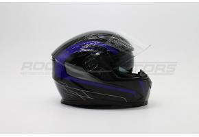 Шлем интеграл с двойным стеклом ROCKOT PD-129 Mumba (M) (черный/синий глянцевый)