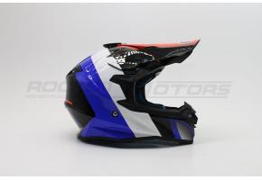 Шлем кроссовый ROCKOT PD-167 SH (M) (красный/синий глянцевый)