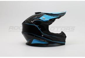 Шлем кроссовый ROCKOT PD-167 UF mumba (S) (черный/синий глянцевый)
